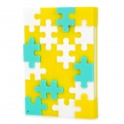 Cute Silicone Buzzle Style Notebook / DIY Notepad - Yellow + White + Blue
