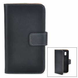 Protective PU Leather Case w/ Card Holder Slots for LG Nexus 4 E960 - Black
