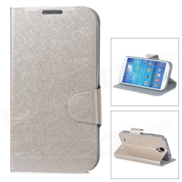 Ice Pattern Protective PU Leather Case w/ Stand for Samsung i9500 - Champagne Gold - DXLeather Cases<br>Brand N/A Quantity 1 Piece Color Champagne gold Material PU leather Compatible Models Samsung i9500 / S4 Other Features Protects your device from scratches shock and dust; Can be folded as a stand providing great angle for viewing playing and typing; Convenient to use Packing List 1 x Case<br>