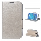 Ice Pattern Protective PU Leather Case w/ Stand for Samsung i9500 - Champagne Gold