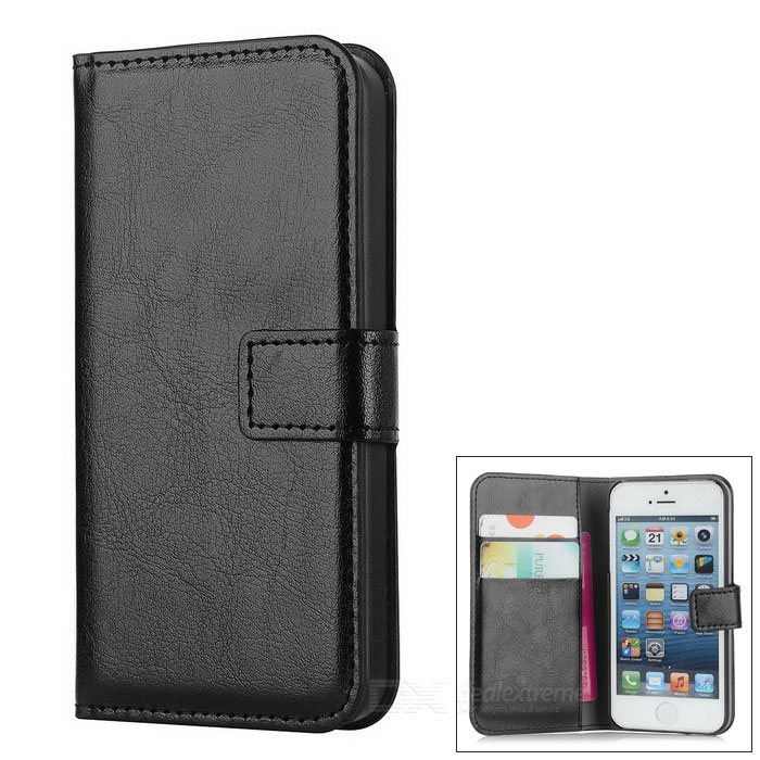 Stylish Protective PU Leather Case for Iphone 5 / 5s - Black