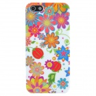 Flowers and Fruits Style Protective Plastic Back Case for Iphone 5 - White + Multicolor