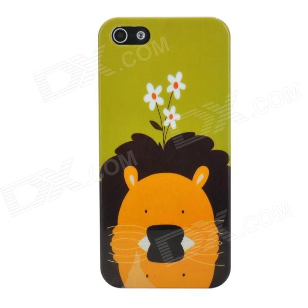Cute Lion Style Protective Plastic Back Case for Iphone 5 - Green + Yellow + Black cute marshmallow style silicone back case for iphone 5 5s yellow white
