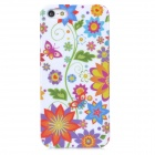 Sunflowers + Butterflies Pattern Protective Plastic Back Case for Iphone 5 - White + Multicolored