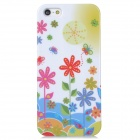 Butterflies + Flowers Pattern Protective Plastic Back Case for Iphone 5 - White + Multicolored
