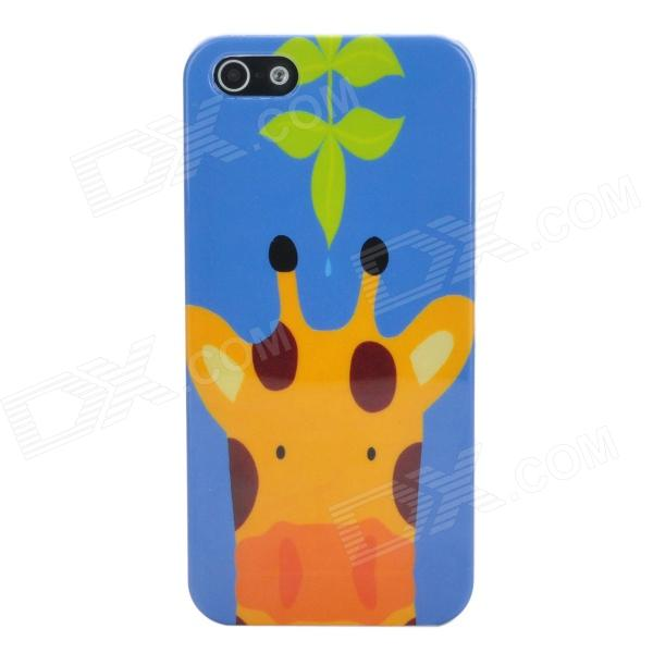 Cute Giraffe Style Protective Plastic Back Case for Iphone 5 - Blue + Yellow white doormoon for iphone 5c wallet genuine leather cover with stand
