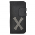 Cross Bone Style Protective PU Leather Case for Iphone 5 - Black + Grey