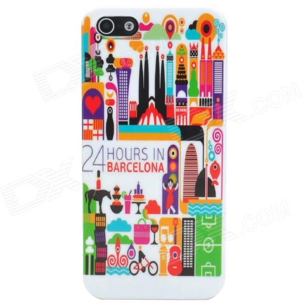 24 Hours in Barcelona Style Protective Plastic Back Case for Iphone 5 - White + Multicolor