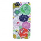 Rose Style Protective Plastic Back Case for Iphone 5 - White + Multicolor