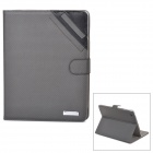 Oxford Pattern Protective PU Leather Flip-Open Case w/ Stand for Ipad 2 / 3 / 4 - Grey
