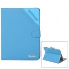 Oxford Pattern Protective PU Leather Flip-Open Case w/ Stand for Ipad 2 / 3 / 4 - Blue