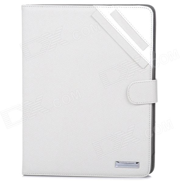Oxford Pattern Protective PU Leather Flip-Open Case w/ Stand for Ipad 2 / 3 / 4 - White