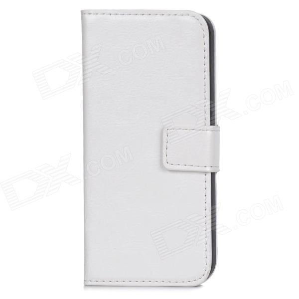 Protective PU Leather Case w/ Stand for Iphone 5 / 5s - White liberty project чехол книжка для apple iphone 6 plus 6s plus black