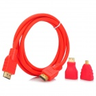 HDMI Male to Male Video Audio Transmission Cable w/ Mini HDMI / Micro HDMI Adapter - Red (1.4m)