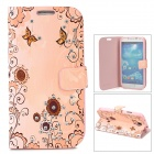 Sunflower Pattern Protective PU Leather Case w/ Stand for Samsung S4 - Pink + Brown + Light Orange