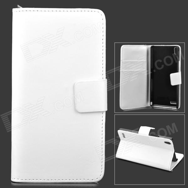 Protective PU Leather Case w/ Stand / Card Slots for Huawei P6 - White