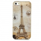 Eiffel Tower + Stamps Pattern Protective TPU Back Case for Iphone 5 / 5s - Translucent + Grey