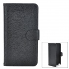 Lychee Grain Style Protective PU Leather + Plastic Case for Samsung Galaxy Note 3 N9000 - Black