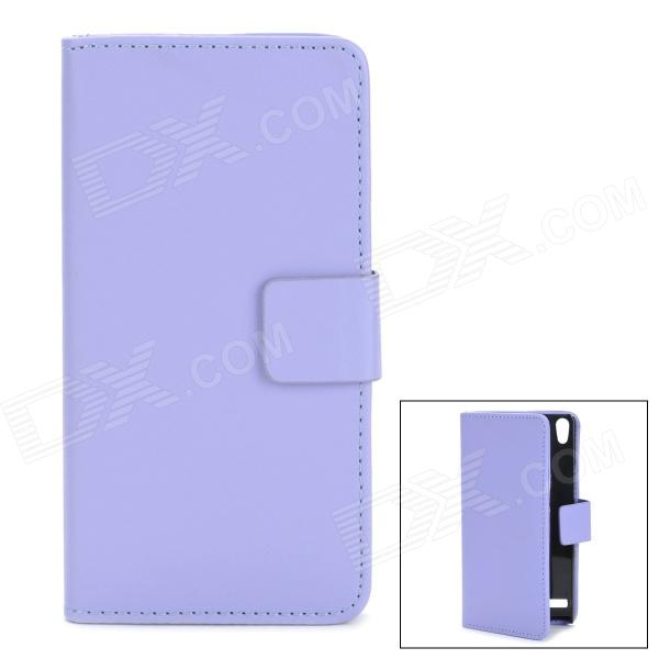 Protective PU Leather + Plastic Case for Huawei P6 - Blue