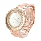 PAIDU 58938 Fashion Diamond Stainless Steel Band Wrist Watch - White + Golden