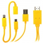 Micro USB MHL to HDMI HD Video Adapter Cable w/ Micro USB 5 Pin to 11 Pin Cable for Samsung - Yellow