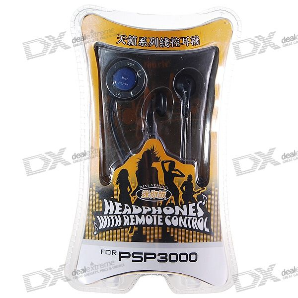 Stereo Earphone with Microphone and Line Control for PSP 3000