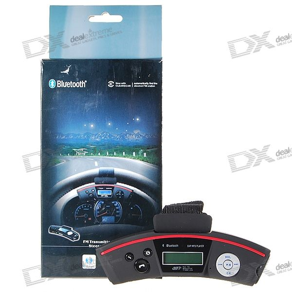 Steering Wheel Mount A2DP Bluetooth Caller ID Handsfree + MP3 Player FM Transmitter (TF/USB/Line-in)