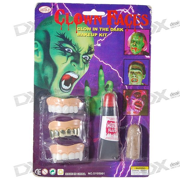 Rubber Horrific Tooth + Finger Set for Halloween (5-Piece Set)