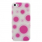 Glow-in-the-Dark Polka Pattern Plastic Back Case for Iphone 5 - Deep Pink + Translucent White