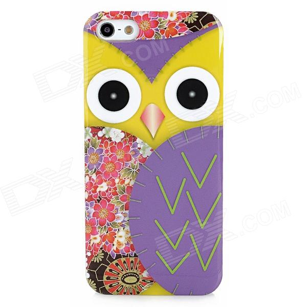 Cute Owl Style Protective Plastic Back Case for Iphone 5 - Purple + Yellow + Red cute owl pattern tpu back case for iphone 6 plus 5 5 yellow orange multi color