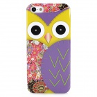 Cute Owl Style Protective Plastic Back Case for Iphone 5 - Purple + Yellow + Red