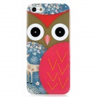 Owl Pattern Protective Plastic Back Case for Iphone 5 - Blue + Red + Brown