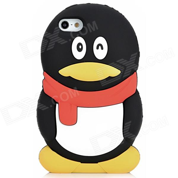 Cute QQ Penguin Style Silicone Back Case for Iphone 5 - Black + White + Red пинетки митенки blue penguin puku