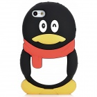 Cute QQ Penguin Style Silicone Back Case for Iphone 5 - Black + White + Red