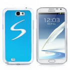 """S"" Style Protective Back Case w/ Caller Signal Flashing LED for Samsung Galaxy Note 2 N7100 - Blue"
