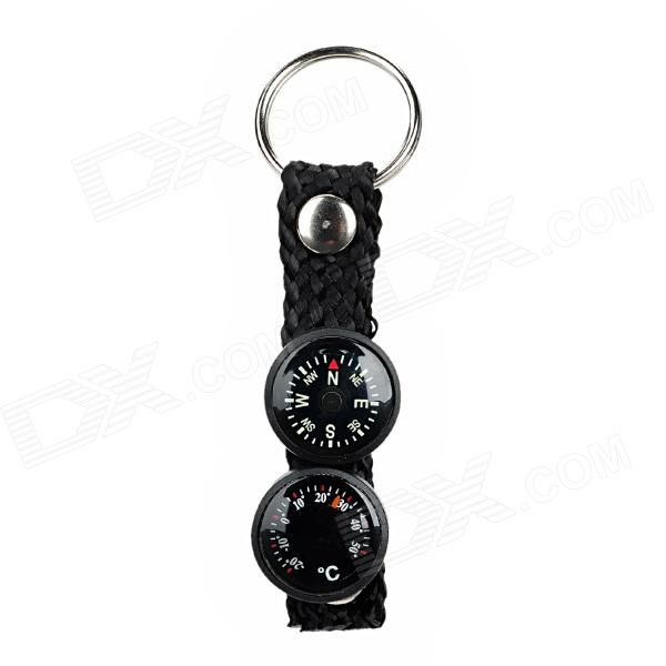 Outdoor Compass + Thermometer Strap w/ Keychain - Black