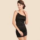 Sexy Glamour Bodycon One Shoulder Club Dress - Black