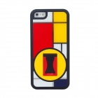 BENWIS Plastic Protective Case with Holder for Iphone5 - Black + Red + Yellow + White