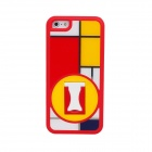 BENWIS Plastic Protective Case with Holder for Iphone 5 - Red + White + Yellow