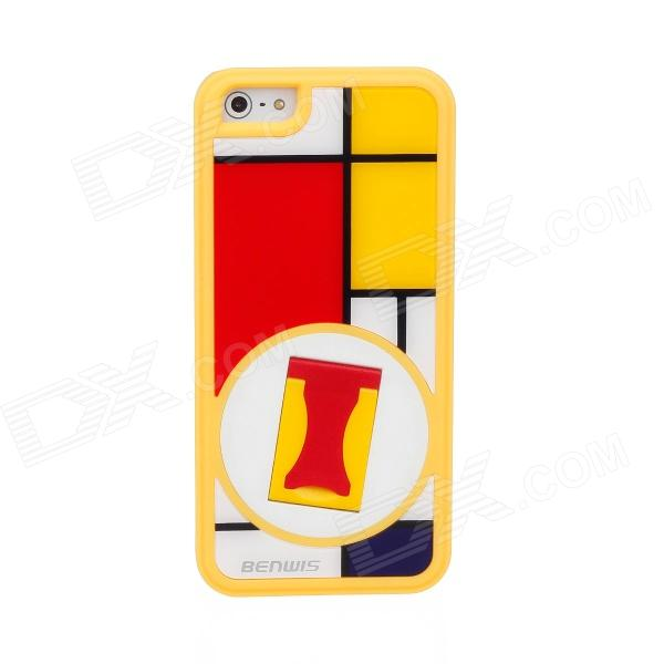 BENWIS Plastic Protective Case with Holder for Iphone 5 -  Yellow Frame