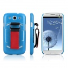 ENKAY Protective Plastic Back Case w/ Belt for Samsung Galaxy S III / i9300 - Blue