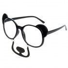 Cute Bear with Mustache Style ABS + Resin Glasses - Black + Transparent
