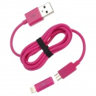 Micro USB Female to 8-Pin Lightning Male Adapter + USB to Micro USB Data/Charging Cable - Deep Pink
