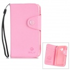MLT LX-L35H Protective PU Leather Case w/ Card Slot Strap for Sony L35h - Pink