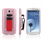 ENKAY Protective Plastic Back Case w/ Belt for Samsung Galaxy S III / i9300 - Pink