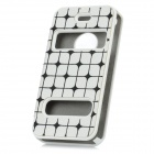 Square Pattern Protective PVC + PU Leather Case for Iphone 4 / 4S - White + Black