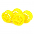 HSP 53mm 14-Spoke Plastic Wheel Hub for 1:10 R/C Car - Yellow (4 PCS)