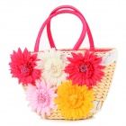 Five-Chrysanthemum Style Fashionable Natural Corn Husk Hand Bag - Deep Pink + White + Red + Yellow