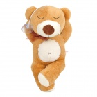 Sleeping Short Plush Bear w/ Suction Cup Decorative Doll Toy - Brown + White