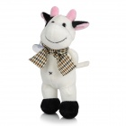 Smilling Short Plush Cow w/ Bowknot / Suction Cup Doll Toy - Pink + White